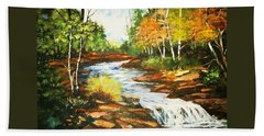 A Winding Creek In Autumn Beach Sheet