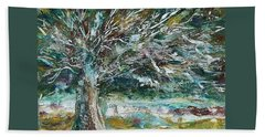 A Winter Tree Beach Towel by Mary Wolf