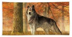 A Wolf In Autumn Beach Towel