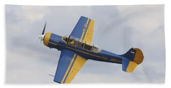 A Yakolev Yak-52 Plane Flying Beach Towel by Timm Ziegenthaler