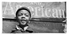 A Young Harlem Newsboy Beach Towel by Underwood Archives