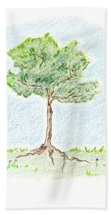 Beach Sheet featuring the drawing A Young Tree by Keiko Katsuta