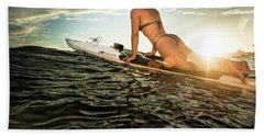 A Young Woman On A Paddleboard Beach Towel