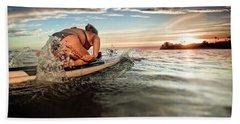 A Young Woman Paddling Hard Beach Towel