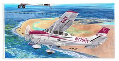 Cessna 206 And A1a Husky Beach Towel by Jack Pumphrey