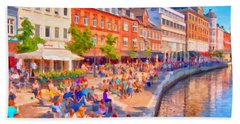 Aarhus Canal Digital Painting Beach Sheet by Antony McAulay
