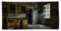 Beach Towel featuring the photograph Abandoned Building - Old Asylum - Open Cabinet Doors by Gary Heller