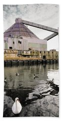 Beach Towel featuring the photograph abandoned - Industrial - Swan song by Gary Heller