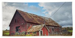 Beach Towel featuring the photograph Abandoned Red Barn by Alana Ranney