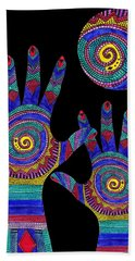 Aboriginal Hands To The Sun Beach Towel