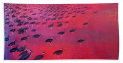About 250 White Shouldered Ibis Oil On Canvas Beach Towel