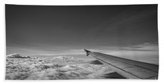 Above The Clouds Bw Beach Towel by Michael Ver Sprill