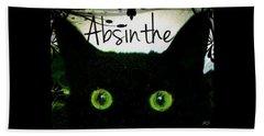 Absinthe Black Cat Beach Sheet by Absinthe Art By Michelle LeAnn Scott