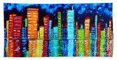 Abstract Art Landscape City Cityscape Textured Painting City Nights II By Madart Beach Towel