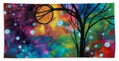 Abstract Art Original Painting Winter Cold By Madart Beach Towel
