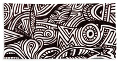 Beach Towel featuring the painting Abstract Black And White Ink Line Drawing by Jean Haynes