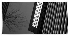 Abstract Building Patterns Black White Beach Towel