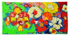 Abstract Colorful Flowers Beach Sheet by Ana Maria Edulescu