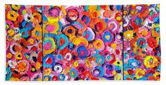 Abstract Colorful Flowers Triptych  Beach Towel