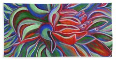 Abstract Flower Beach Towel by Janice Dunbar