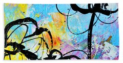 Abstract Flowers Silhouette 6 Beach Towel