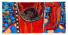 Abstract Hot Coffee In Red Mug Beach Sheet by Ana Maria Edulescu