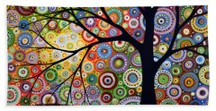 Abstract Original Modern Tree Landscape Visons Of Night By Amy Giacomelli Beach Towel by Amy Giacomelli