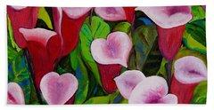Abstract Pink Calla Lily Beach Towel