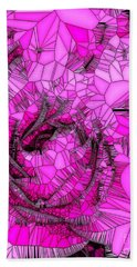 Abstract Pink Rose Mosaic Beach Towel by Saundra Myles