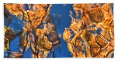 Abstract Reflections In Autumn Beach Towel by Gary Slawsky