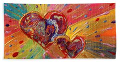 Abstract Valentines Love Hearts Beach Towel