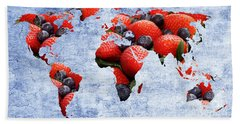 Beach Towel featuring the photograph Abstract World Map - Berries And Cream - Blue by Andee Design