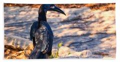 Abyssinian Ground Hornbill Beach Towel by Chris Flees