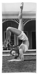 Actress Vera Zorina Exercising Beach Towel by Underwood Archives