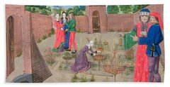 Add 19720 Fol.214 Walled Garden With A Woman Gardening And Others Gossiping, From Livre Des Beach Towel