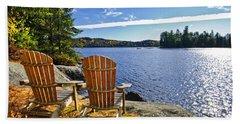 Adirondack Chairs At Lake Shore Beach Sheet