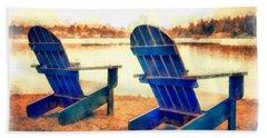 Adirondack Chairs By The Lake Beach Towel