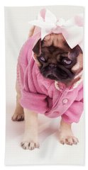 Adorable Pug Puppy In Pink Bow And Sweater Beach Towel