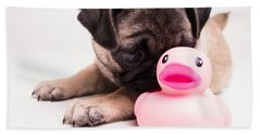 Adorable Pug Puppy With Pink Rubber Ducky Beach Towel