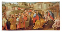 Adoration Of The Magi, Known As The Benintendi Epiphany Oil On Panel Beach Towel