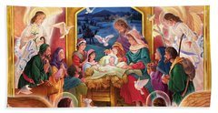 Adoring Angels Nativity Beach Towel