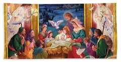 Adoring Angels Nativity Square Beach Towel