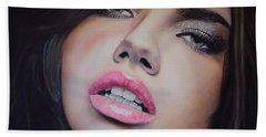 Adriana Lima Oil On Canvas Beach Towel