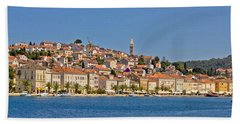 Adriatic Town Of Mali Losinj View From Sea Beach Towel
