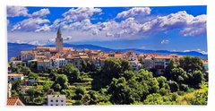Adriatic Town Of Vrbnik Panoramic View Beach Sheet by Brch Photography