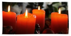 Beach Towel featuring the photograph Advent Candles Christmas Candle Light by Paul Fearn