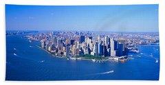 Aerial Lower Manhattan New York City Ny Beach Towel