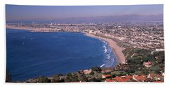 Aerial View Of A City At Coast, Santa Beach Towel