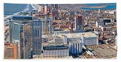 Aerial View Of A City, Atlantic City Beach Towel