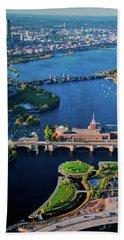 Aerial View Of Bridges Crossing Charles Beach Towel
